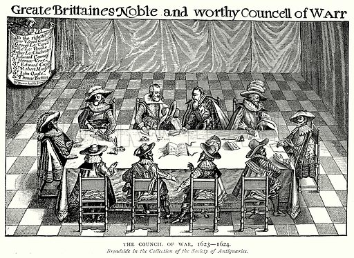 The Council of War, 1623--1624. Illustration from A Short History of the English People by J R Green (Macmillan, 1892).
