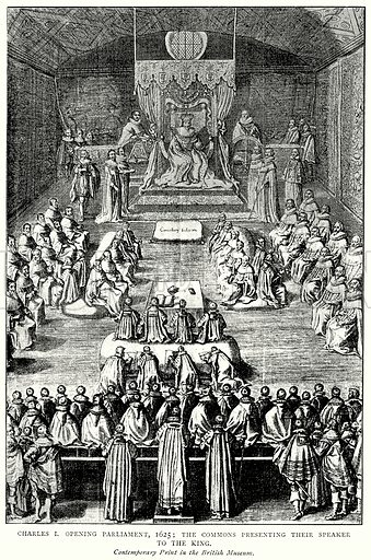 Charles I opening Parliament, 1625; The Commons Presenting their Speaker to the King. Illustration from A Short History of the English People by J R Green (Macmillan, 1892).