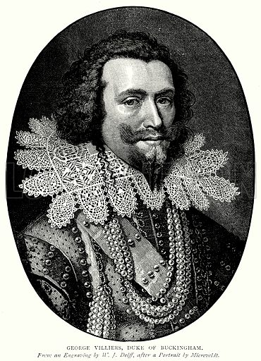 George Villiers, Duke of Buckingham. Illustration from A Short History of the English People by JR Green (Macmillan, 1892).