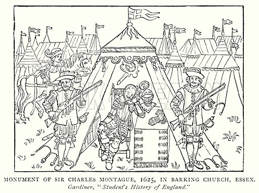 Monument of Sir Charles Montague, 1625, in Barking Church, Essex. Illustration from A Short History of the English People by J R Green (Macmillan, 1892).
