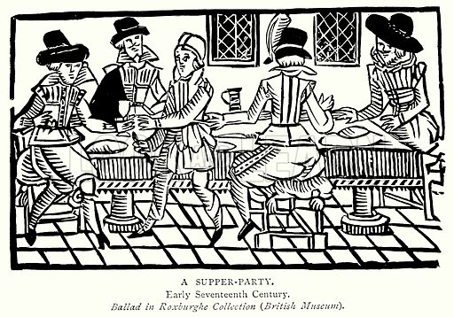 A Supper-Party. Illustration from A Short History of the English People by J R Green (Macmillan, 1892).