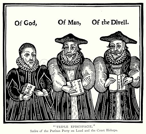 """Triple Episcopacie."" Illustration from A Short History of the English People by JR Green (Macmillan, 1892)."