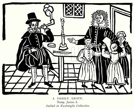 A Family Group. Illustration from A Short History of the English People by J R Green (Macmillan, 1892).