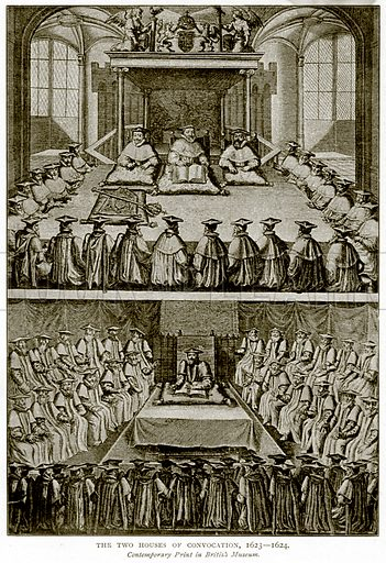 The Two House of Convocation, 1623 – 1624. Illustration from A Short History of the English People by JR Green (Macmillan, 1892).