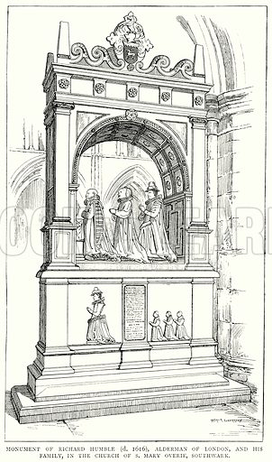 Monument of Richard Humble (d. 1616), Alderman of London, and his Family, in the Church of S Mary Overies, Southwark. Illustration from A Short History of the English People by JR Green (Macmillan, 1892).