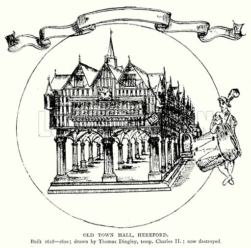 Old Town Hall, Hereford. Illustration from A Short History of the English People by JR Green (Macmillan, 1892).