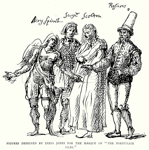 "Figures Designed by Inigo Jones for the Masque of ""The Fortunate Isles."" Illustration from A Short History of the English People by J R Green (Macmillan, 1892)."