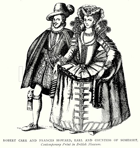 Robert Carr and Frances Howards, Earl and Countess of Somerset. Illustration from A Short History of the English People by J R Green (Macmillan, 1892).