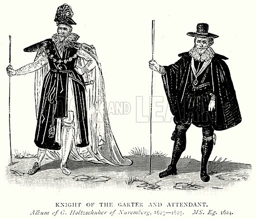 Knight of the Garter and Attendant. Illustration from A Short History of the English People by J R Green (Macmillan, 1892).