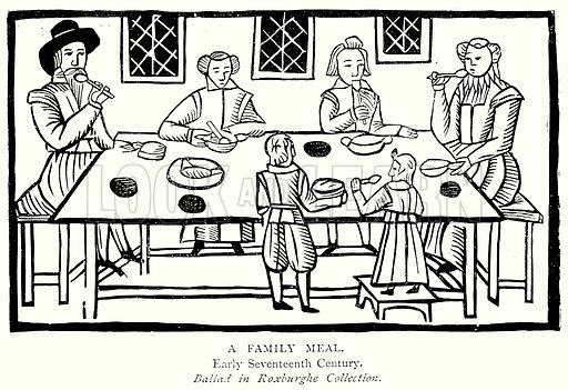A Family Meal. Illustration from A Short History of the English People by JR Green (Macmillan, 1892).