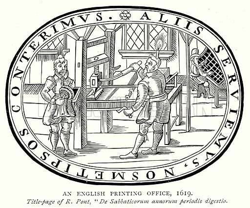 An English Printing Office, 1619. Illustration from A Short History of the English People by J R Green (Macmillan, 1892).