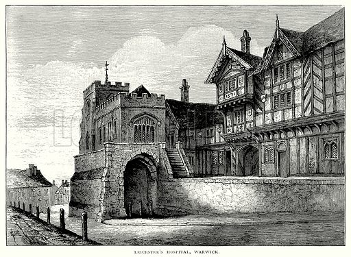 Leicester's Hospital, Warwick. Illustration from A Short History of the English People by J R Green (Macmillan, 1892).