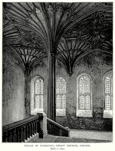 Pillar of Staircase, Christ Church, Oxford. Illustration from A Short History of the English People by JR Green (Macmillan, 1892).