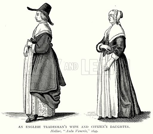 An English Tradesman's Wife and Citizen's Daughter. Illustration from A Short History of the English People by J R Green (Macmillan, 1892).
