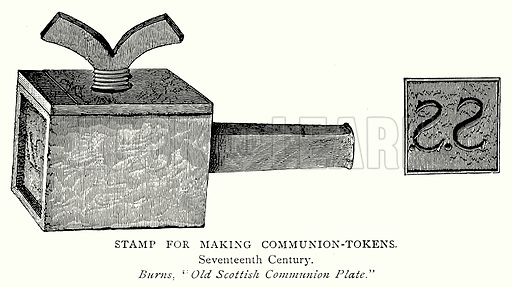 Stamp for Making Communion-Tokens. Illustration from A Short History of the English People by J R Green (Macmillan, 1892).