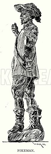 Pikeman. Illustration from A Short History of the English People by J R Green (Macmillan, 1892).