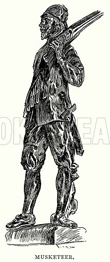 Musketeer. Illustration from A Short History of the English People by J R Green (Macmillan, 1892).