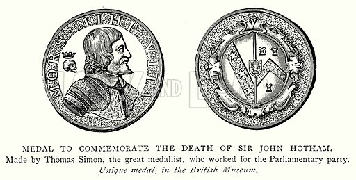 Medal to Commemorate the Death of Sir John Hotham. Illustration from A Short History of the English People by J R Green (Macmillan, 1892).