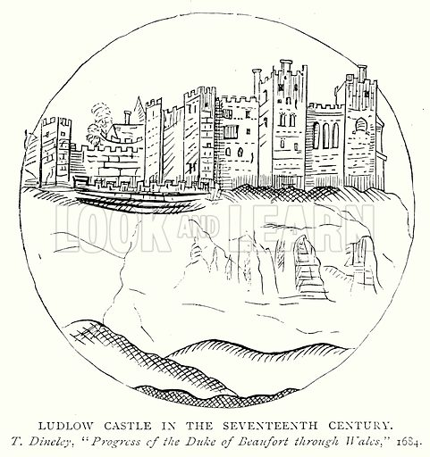 Ludlow Castle in the Seventeenth Century. Illustration from A Short History of the English People by J R Green (Macmillan, 1892).