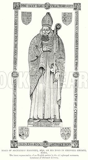 Brass of Archbishop Harsnett, 1631, on his Tomb in Chigwell Church, Essex. Illustration from A Short History of the English People by J R Green (Macmillan, 1892).
