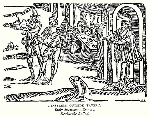 Minstrels Outside Tavern. Illustration from A Short History of the English People by J R Green (Macmillan, 1892).