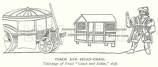 Coach and Sedan-Chair. Illustration from A Short History of the English People by J R Green (Macmillan, 1892).