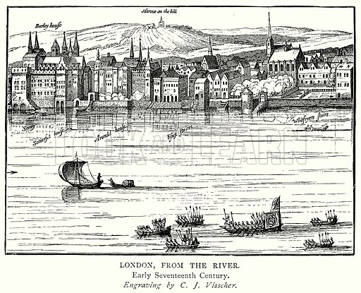 London, from the River. Illustration from A Short History of the English People by JR Green (Macmillan, 1892).