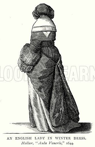 An English Lady in Winter Dress. Illustration from A Short History of the English People by J R Green (Macmillan, 1892).