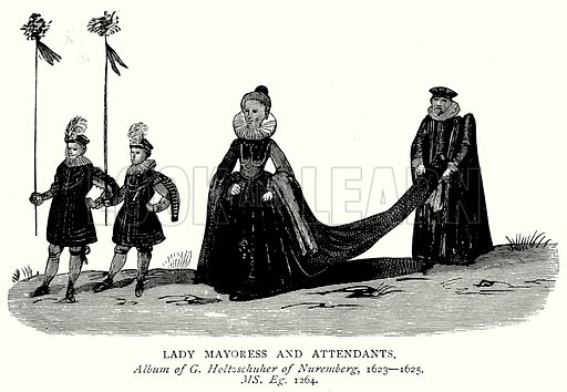 Lady Mayoress and Attendants. Illustration from A Short History of the English People by J R Green (Macmillan, 1892).