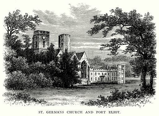 St. Germans Church and Port Eliot. Illustration from A Short History of the English People by J R Green (Macmillan, 1892).