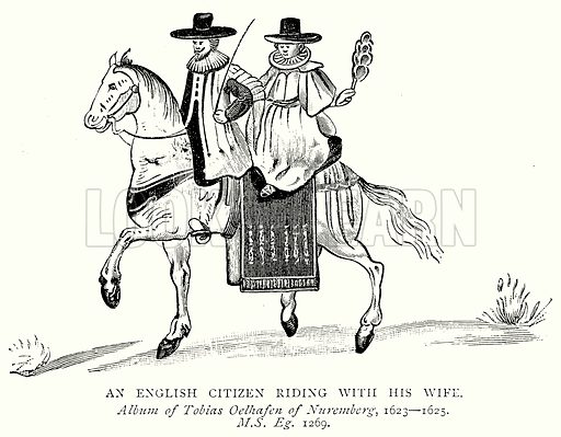 An English Citizen riding with his Wife. Illustration from A Short History of the English People by J R Green (Macmillan, 1892).