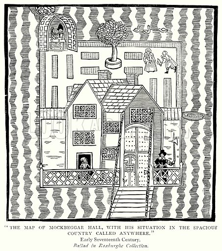 """The Map of Mockbeggar Hall, with his Situation in the Spacious Country called anywhere."" Illustration from A Short History of the English People by JR Green (Macmillan, 1892)."