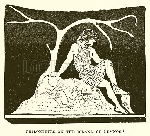 Philoktetes on the Island of Lemnos. Illustration from History of Greece by Victor Duruy (Boston, 1890).