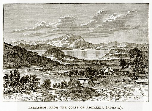 Parnassos, from the Coast of Aigialeia (Achaia). Illustration from History of Greece by Victor Duruy (Boston, 1890).