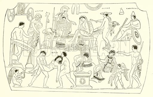 Ransom of Hektor. Illustration from History of Greece by Victor Duruy (Boston, 1890).