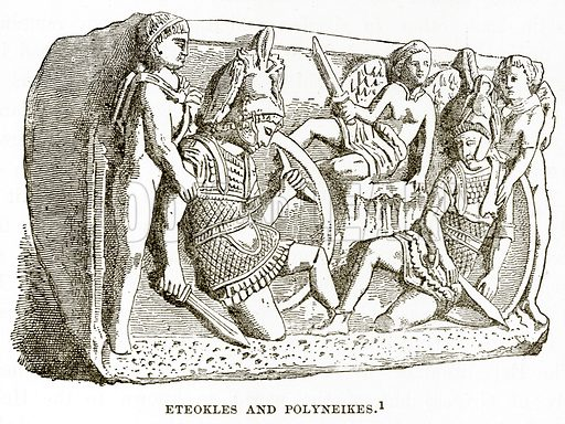 Eteokles and Polyneikes. Illustration from History of Greece by Victor Duruy (Boston, 1890).