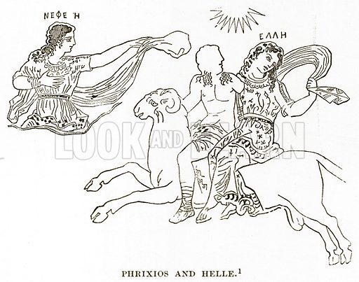 Phrixios and Helle. Illustration from History of Greece by Victor Duruy (Boston, 1890).