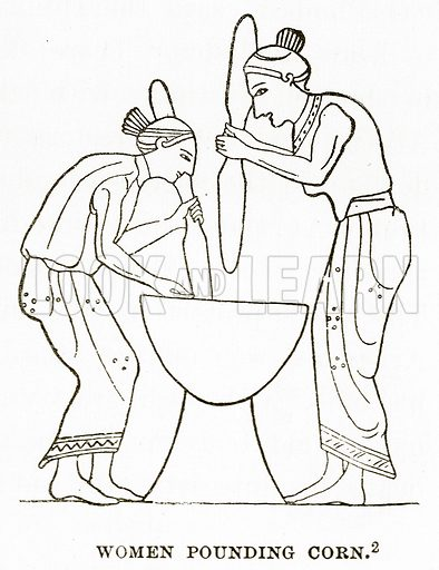 Women pounding Corn. Illustration from History of Greece by Victor Duruy (Boston, 1890).