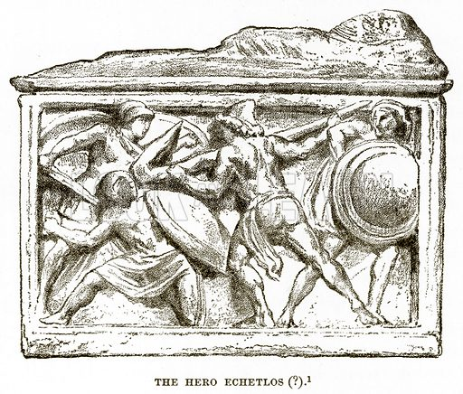 The Hero Echetlos (?). Illustration from History of Greece by Victor Duruy (Boston, 1890).