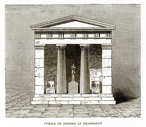 Temple of Nemesis at Rhamnous. Illustration from History of Greece by Victor Duruy (Boston, 1890).