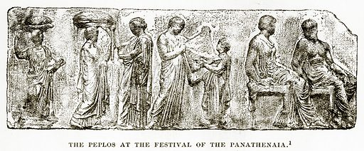 The Peplos at the festival of the Panathenaia. Illustration from History of Greece by Victor Duruy (Boston, 1890).
