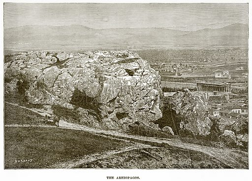 The Areiopagos. Illustration from History of Greece by Victor Duruy (Boston, 1890).