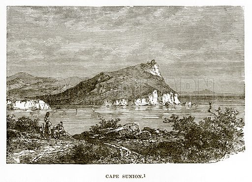 Cape Sunion. Illustration from History of Greece by Victor Duruy (Boston, 1890).