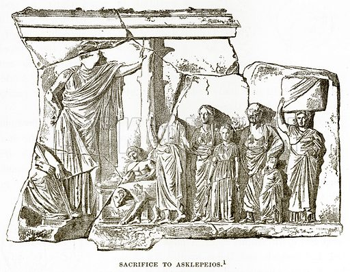 Sacrifice to Asklepeios. Illustration from History of Greece by Victor Duruy (Boston, 1890).