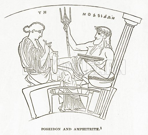 Poseidon and Amphitrite. Illustration from History of Greece by Victor Duruy (Boston, 1890).