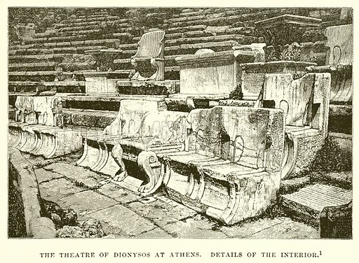 The Theatre of Dionysos at Athens. Details of the interior. Illustration from History of Greece by Victor Duruy (Boston, 1890).