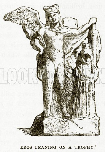 Eros leaning on a Trophy. Illustration from History of Greece by Victor Duruy (Boston, 1890).
