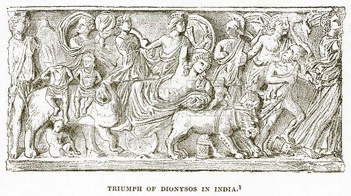 Triumph of Dionysos in India. Illustration from History of Greece by Victor Duruy (Boston, 1890).