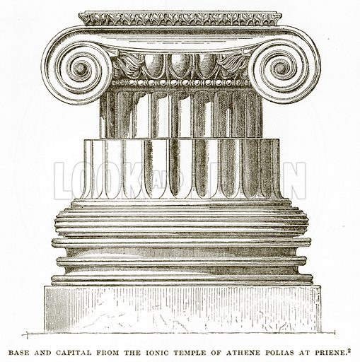 Base and Capital from the Ionic Temple of Athene Polias at Priene. Illustration from History of Greece by Victor Duruy (Boston, 1890).