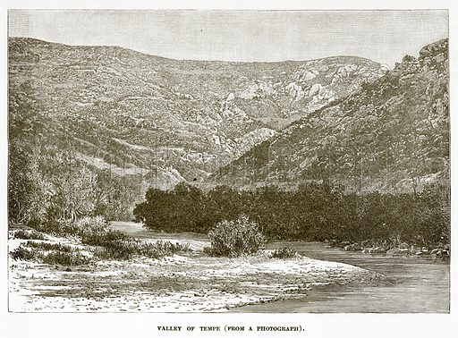 Valley of Tempe. Illustration from History of Greece by Victor Duruy (Boston, 1890).
